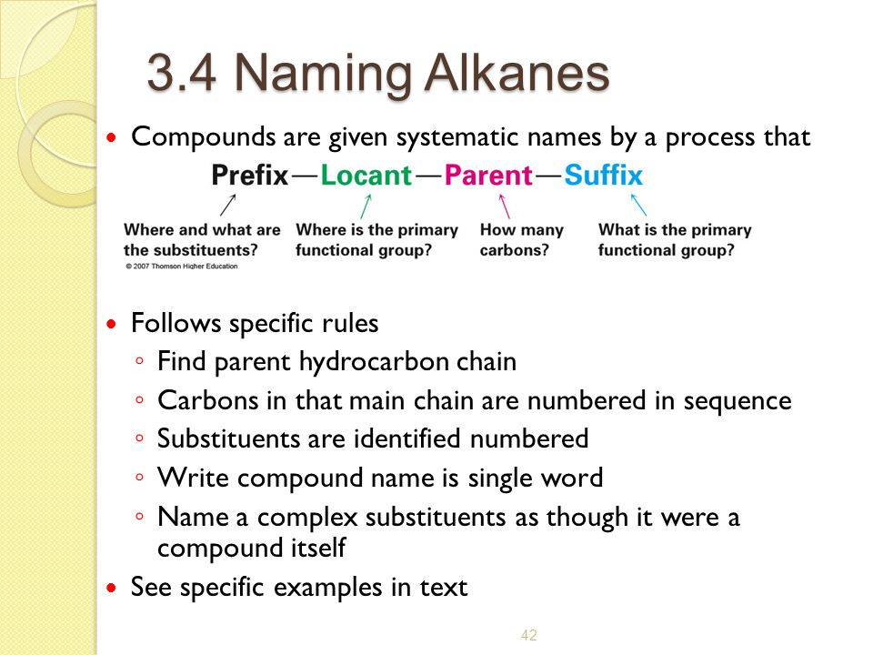 3.4 Naming Alkanes Compounds are given systematic names by a process that uses. Follows specific rules.