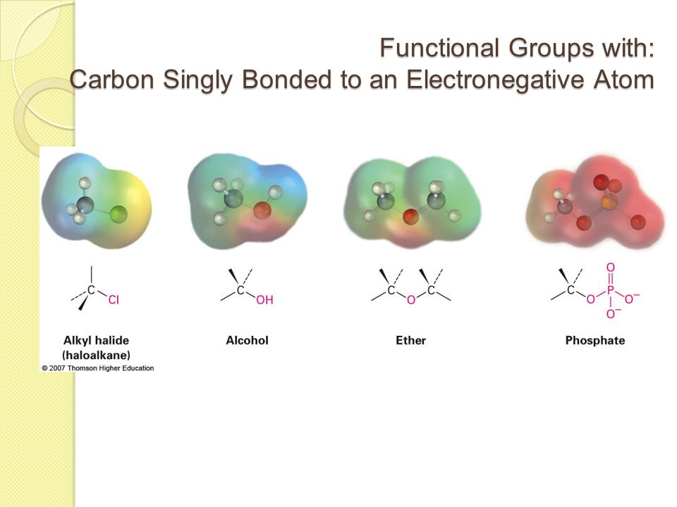 Functional Groups with: Carbon Singly Bonded to an Electronegative Atom
