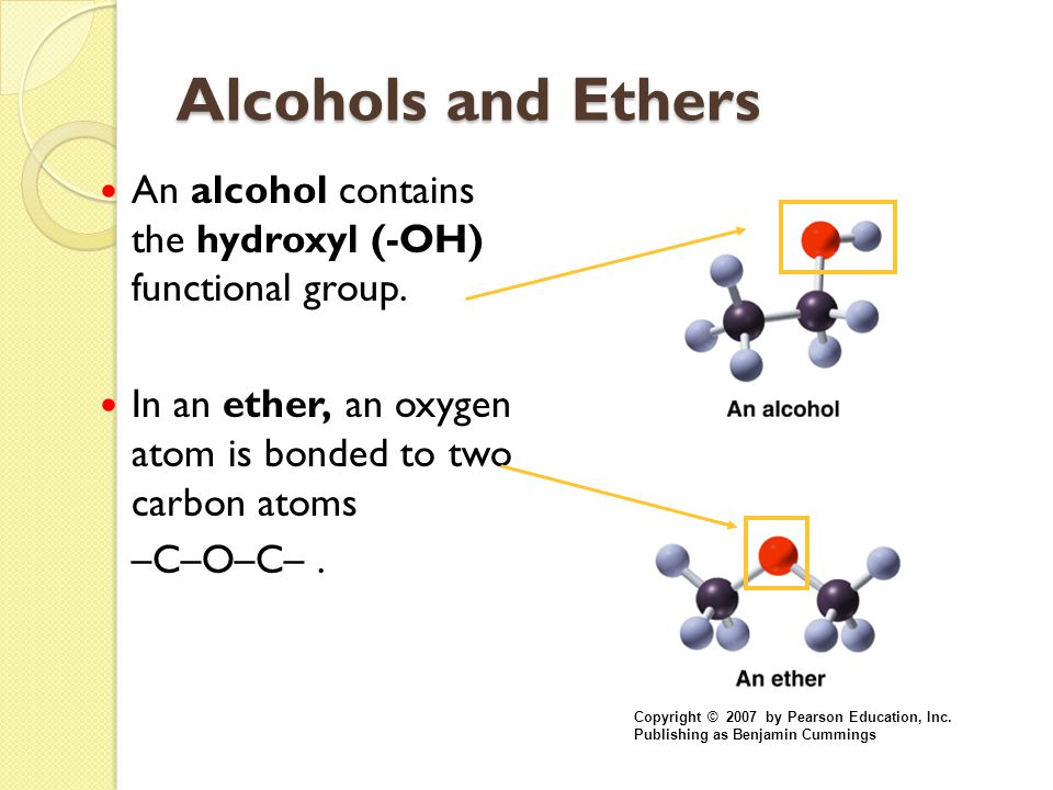 Alcohols and Ethers An alcohol contains the hydroxyl (-OH) functional group. In an ether, an oxygen atom is bonded to two carbon atoms.