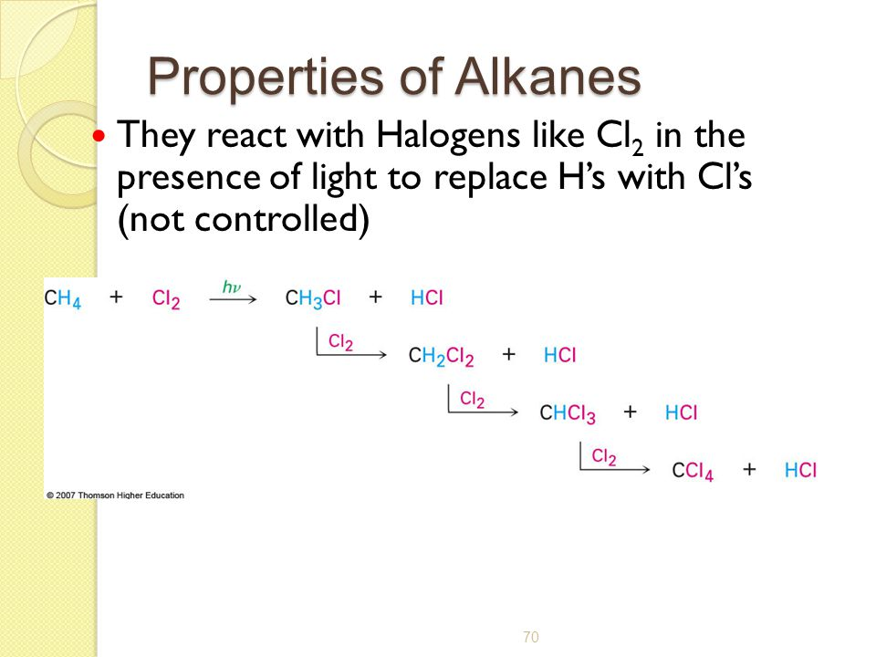 Properties of Alkanes They react with Halogens like Cl2 in the presence of light to replace H's with Cl's (not controlled)