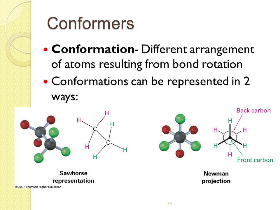 Conformers Conformation- Different arrangement of atoms resulting from bond rotation.