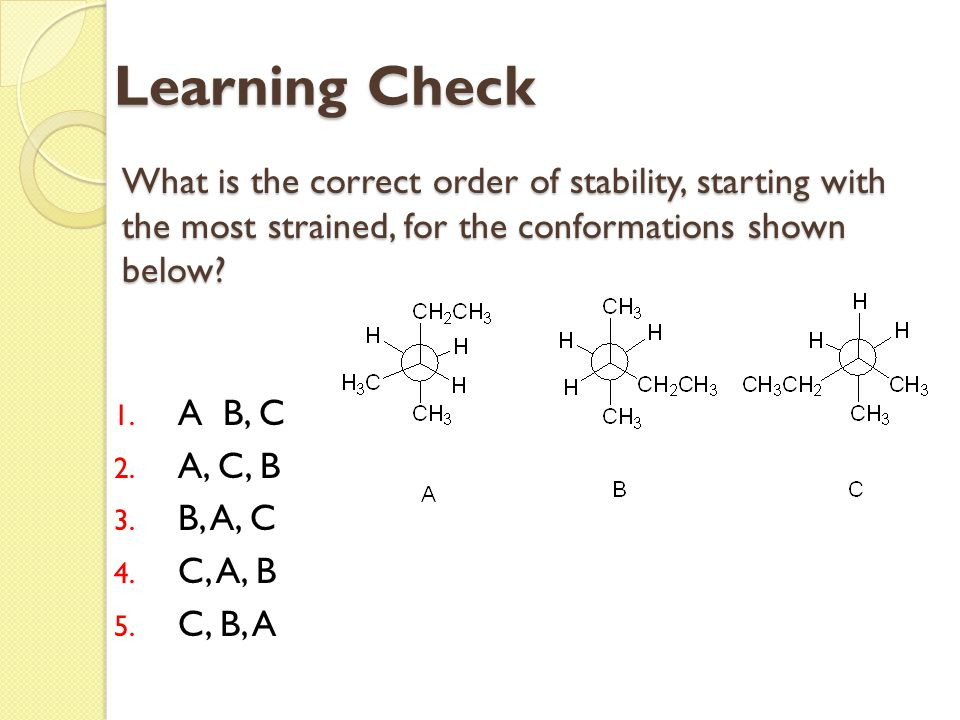Learning Check What is the correct order of stability, starting with the most strained, for the conformations shown below