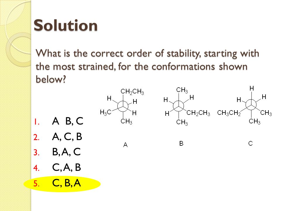 Solution What is the correct order of stability, starting with the most strained, for the conformations shown below