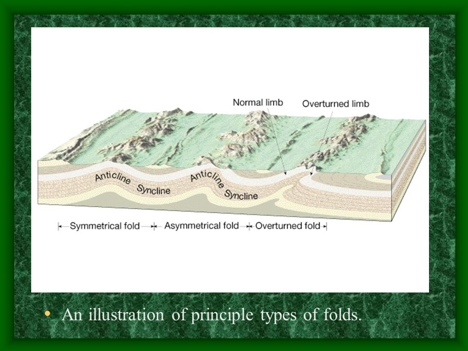 An illustration of principle types of folds.