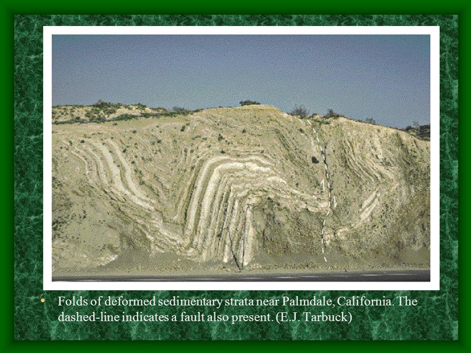 Folds of deformed sedimentary strata near Palmdale, California