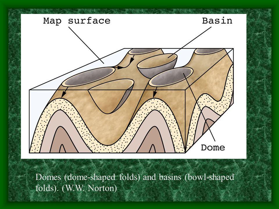 Domes (dome-shaped folds) and basins (bowl-shaped folds). (W. W