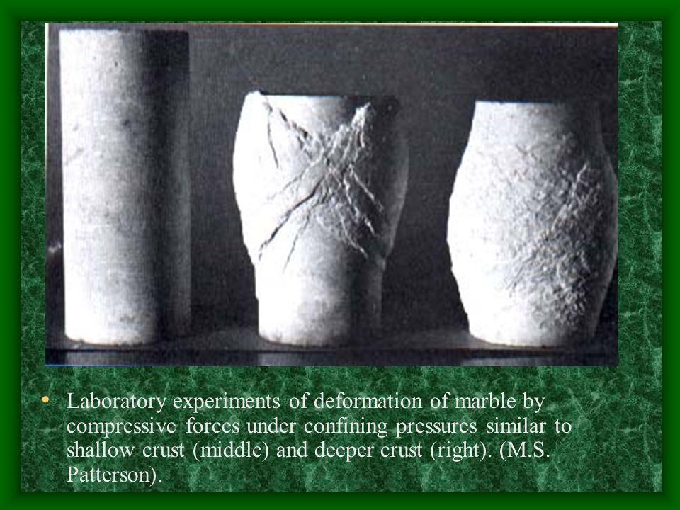 Laboratory experiments of deformation of marble by compressive forces under confining pressures similar to shallow crust (middle) and deeper crust (right).