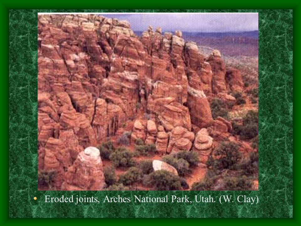 Eroded joints, Arches National Park, Utah. (W. Clay)