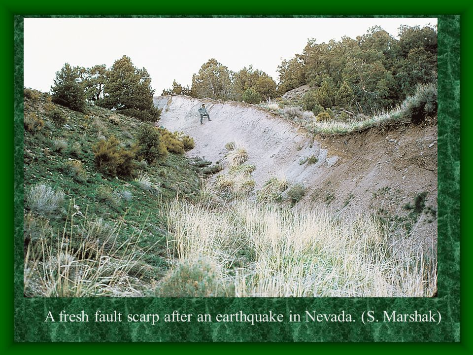A fresh fault scarp after an earthquake in Nevada. (S. Marshak)