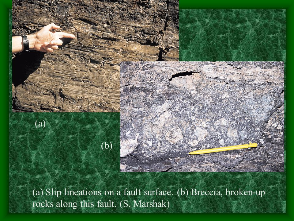 (a) (b) (a) Slip lineations on a fault surface. (b) Breccia, broken-up rocks along this fault.