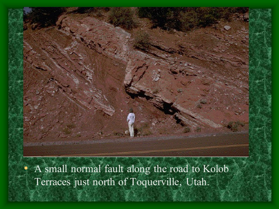 A small normal fault along the road to Kolob Terraces just north of Toquerville, Utah.