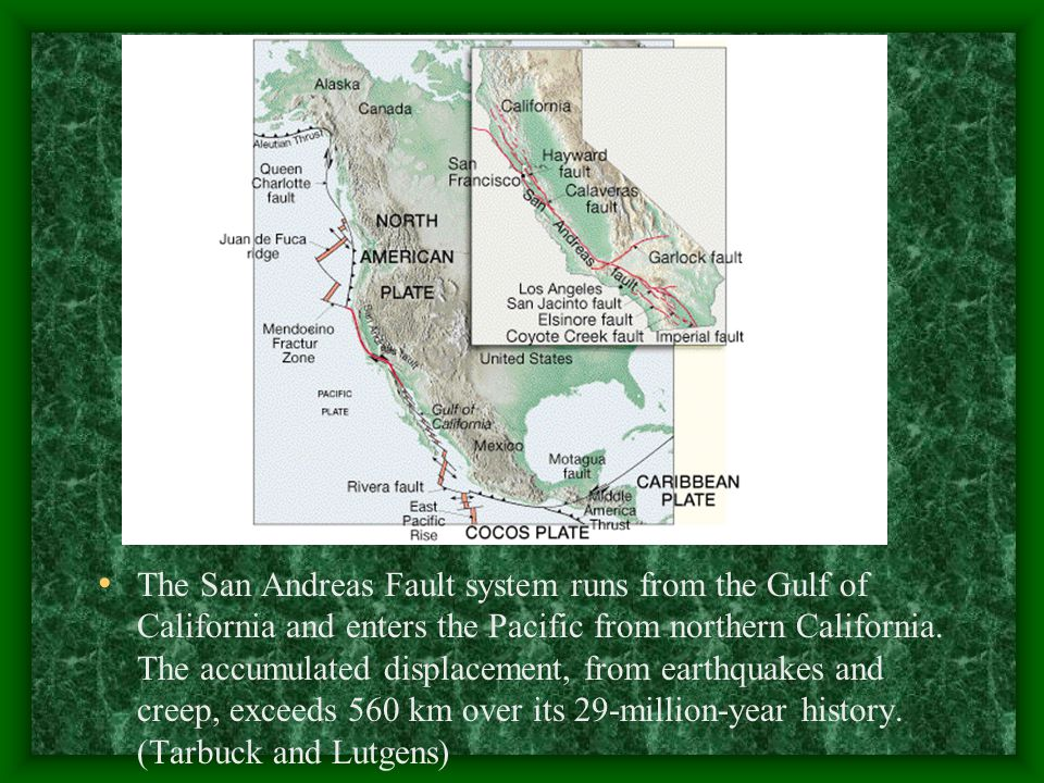The San Andreas Fault system runs from the Gulf of California and enters the Pacific from northern California.
