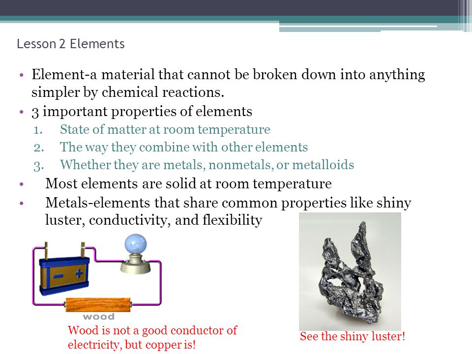 3 important properties of elements