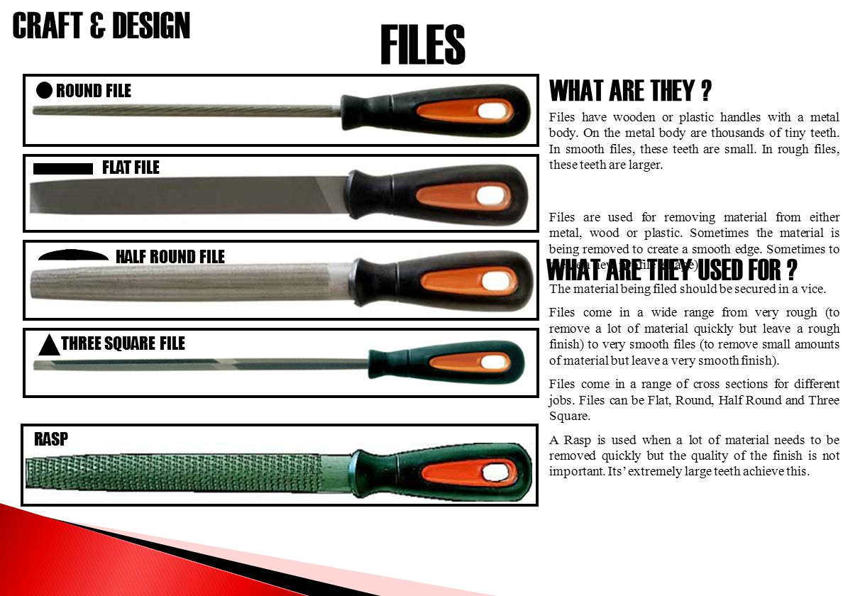 FILES WHAT ARE THEY WHAT ARE THEY USED FOR ROUND FILE FLAT FILE