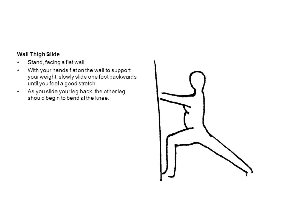Wall Thigh Slide Stand, facing a flat wall.