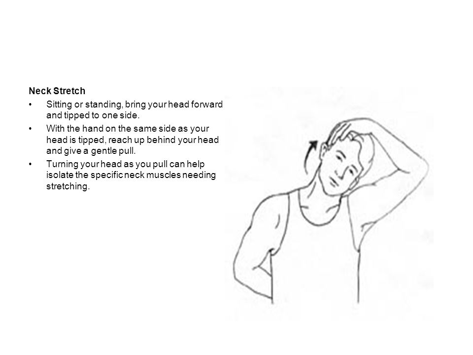 Neck Stretch Sitting or standing, bring your head forward and tipped to one side.