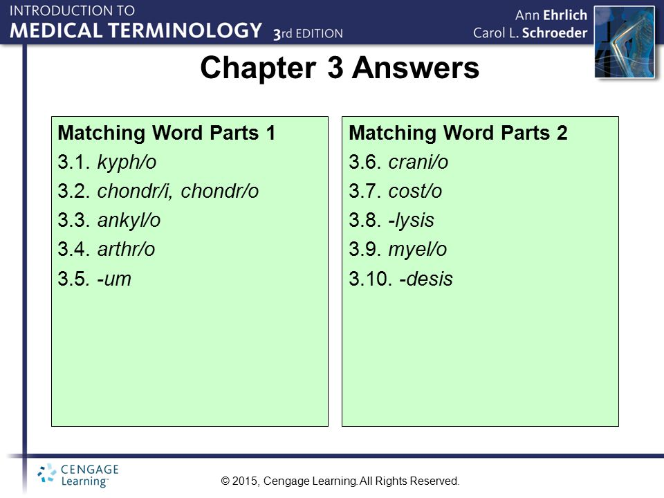 Chapter 3 Answers Matching Word Parts 1 3.1. kyph/o
