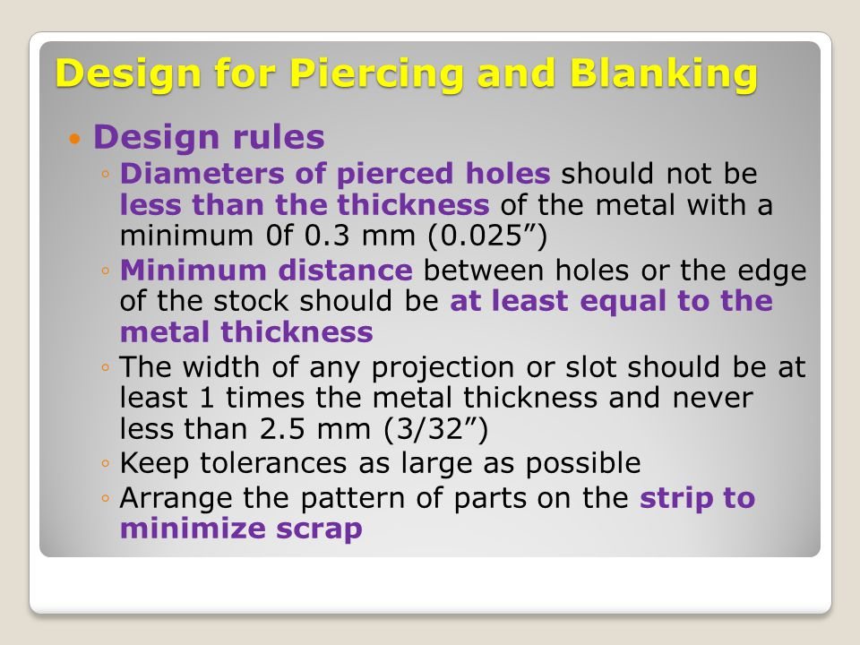 Design for Piercing and Blanking