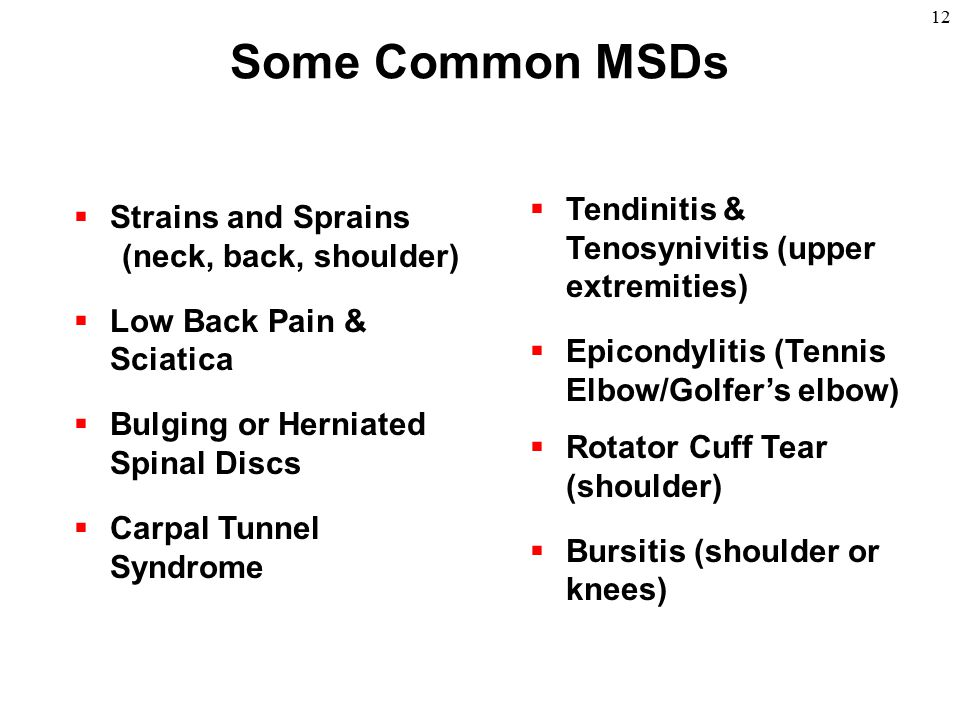 Some Common MSDs Tendinitis & Tenosynivitis (upper extremities)