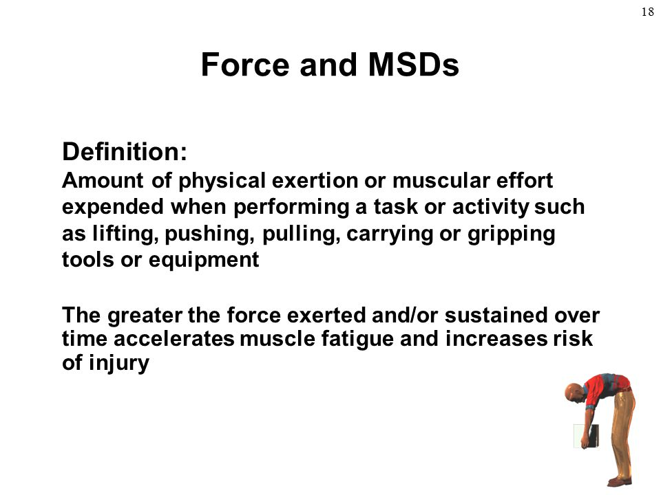 Force and MSDs Definition: