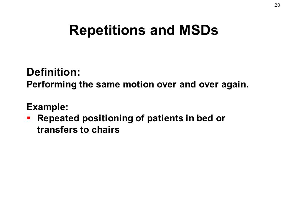 Repetitions and MSDs Definition: