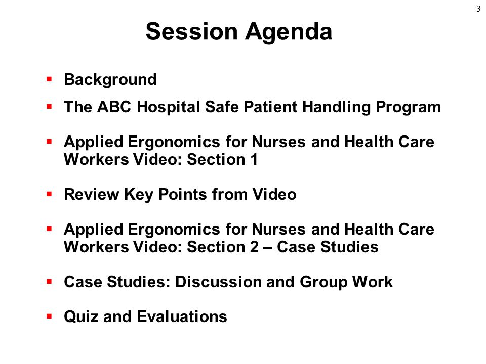 Session Agenda Background