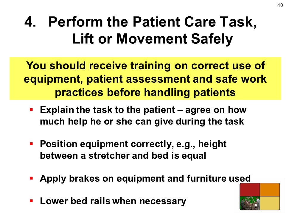 Perform the Patient Care Task, Lift or Movement Safely