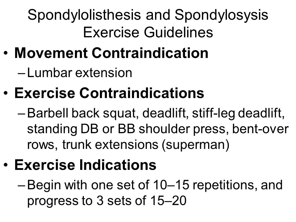 Spondylolisthesis and Spondylosysis Exercise Guidelines