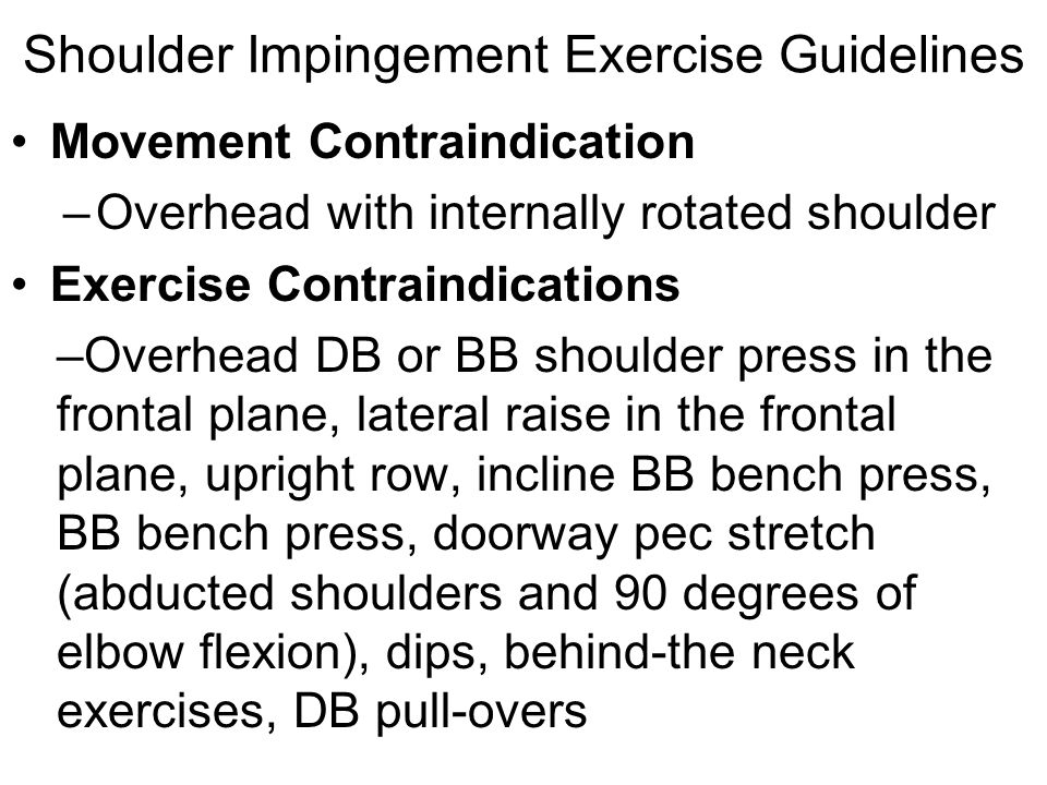Shoulder Impingement Exercise Guidelines