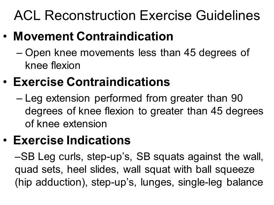 ACL Reconstruction Exercise Guidelines