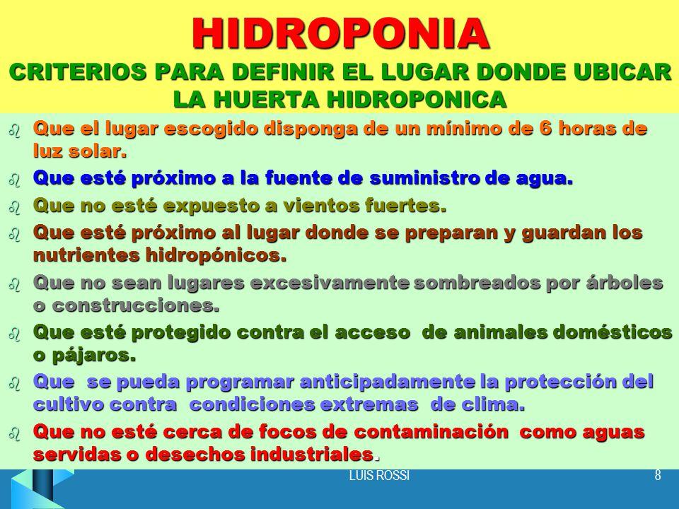 HIDROPONIA CRITERIOS PARA DEFINIR EL LUGAR DONDE UBICAR LA HUERTA HIDROPONICA