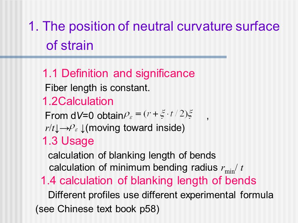 1. The position of neutral curvature surface of strain