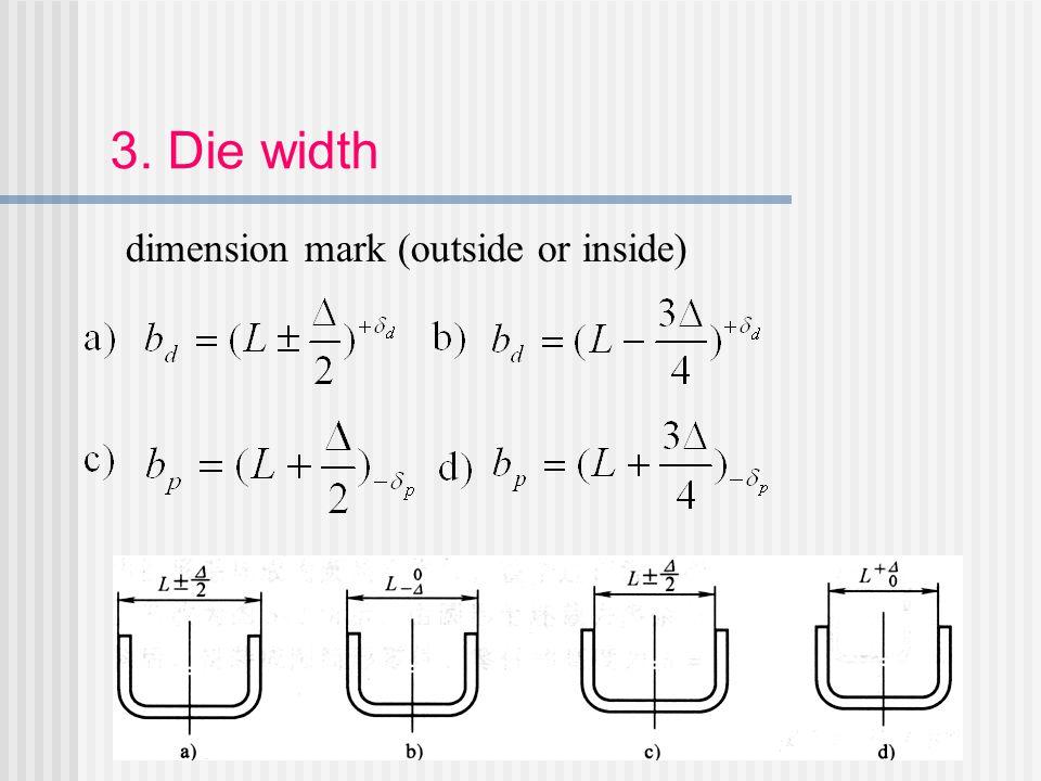 3. Die width dimension mark (outside or inside)