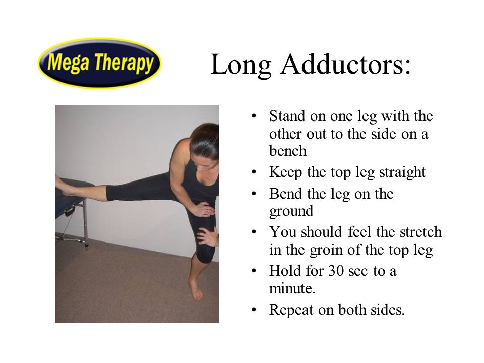 Long Adductors: Stand on one leg with the other out to the side on a bench. Keep the top leg straight.