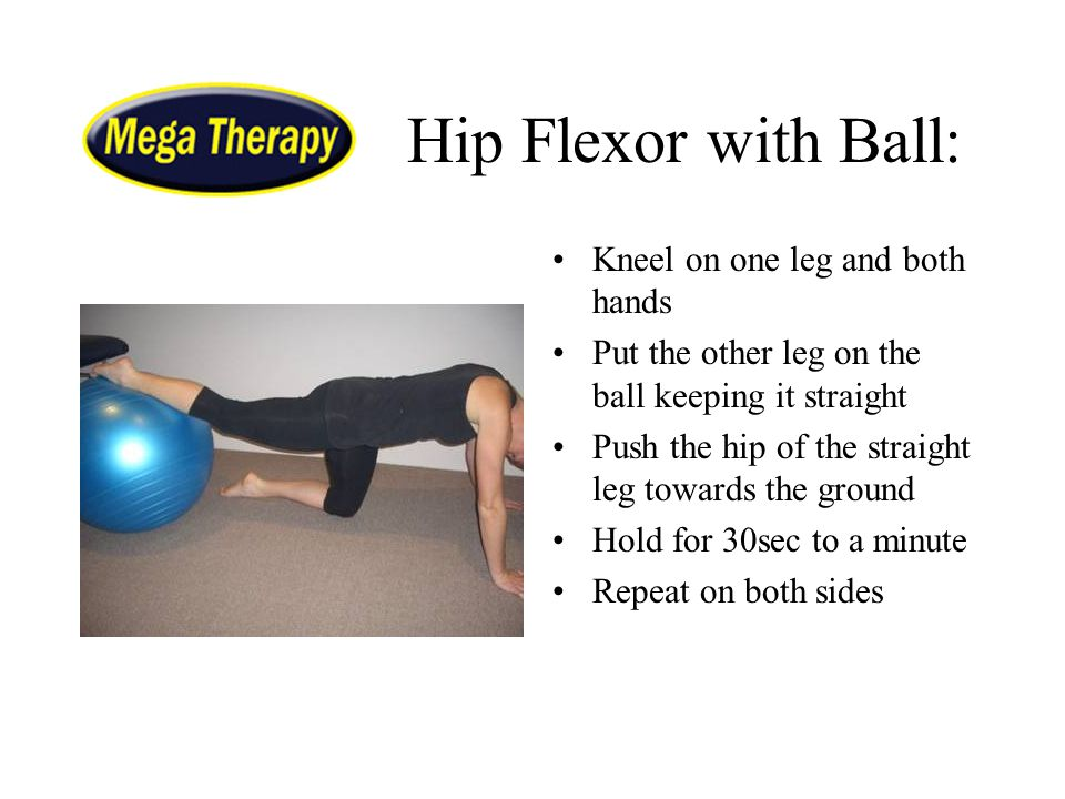 Hip Flexor with Ball: Kneel on one leg and both hands
