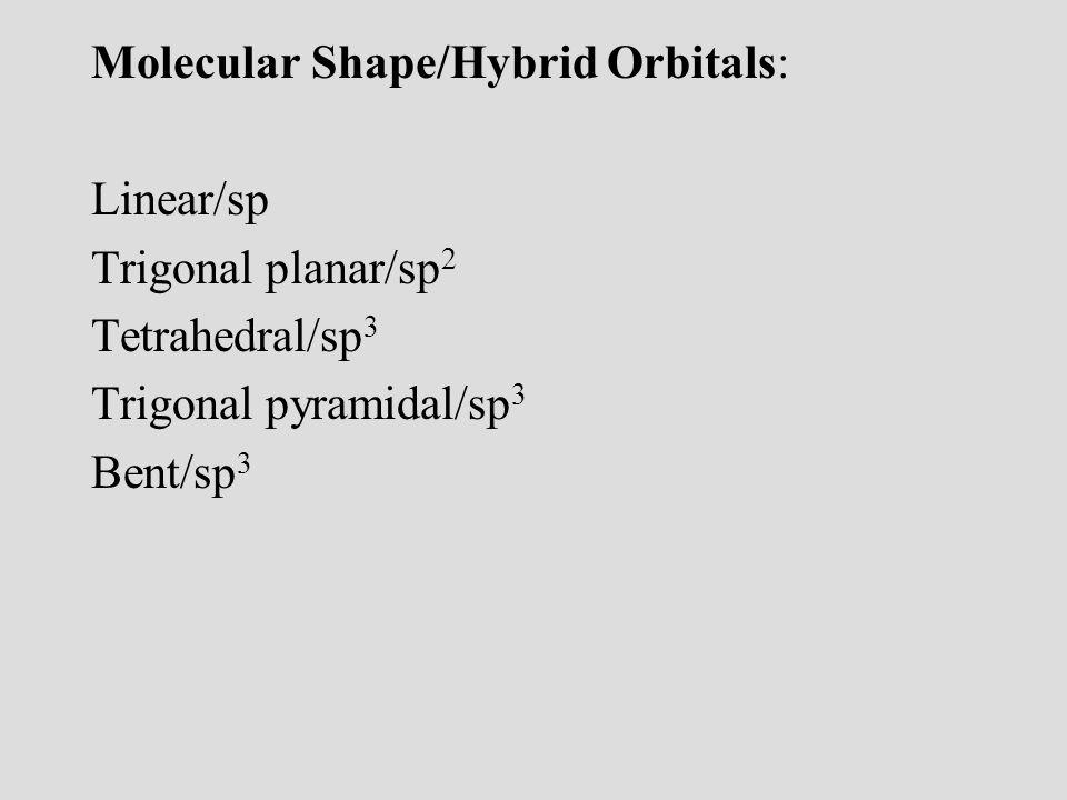 06/10/99 Molecular Shape/Hybrid Orbitals: Linear/sp Trigonal planar/sp2 Tetrahedral/sp3 Trigonal pyramidal/sp3 Bent/sp3