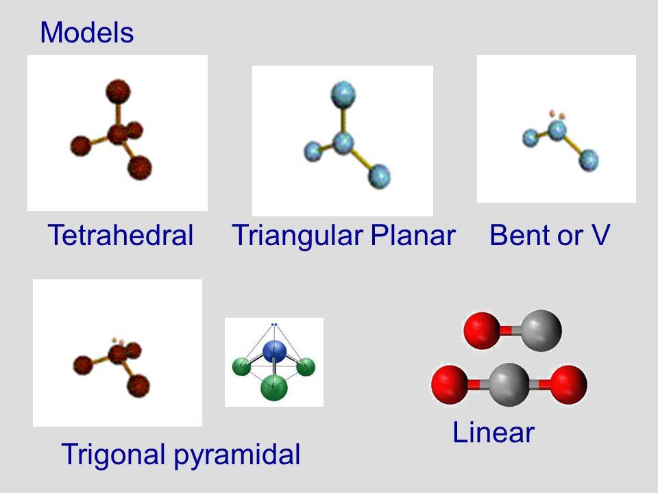 Models Tetrahedral Triangular Planar Bent or V Linear