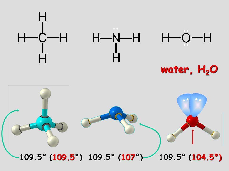 06/10/99 .. .. water, H2O 109.5° (109.5°) 109.5° (107°) 109.5° (104.5°)