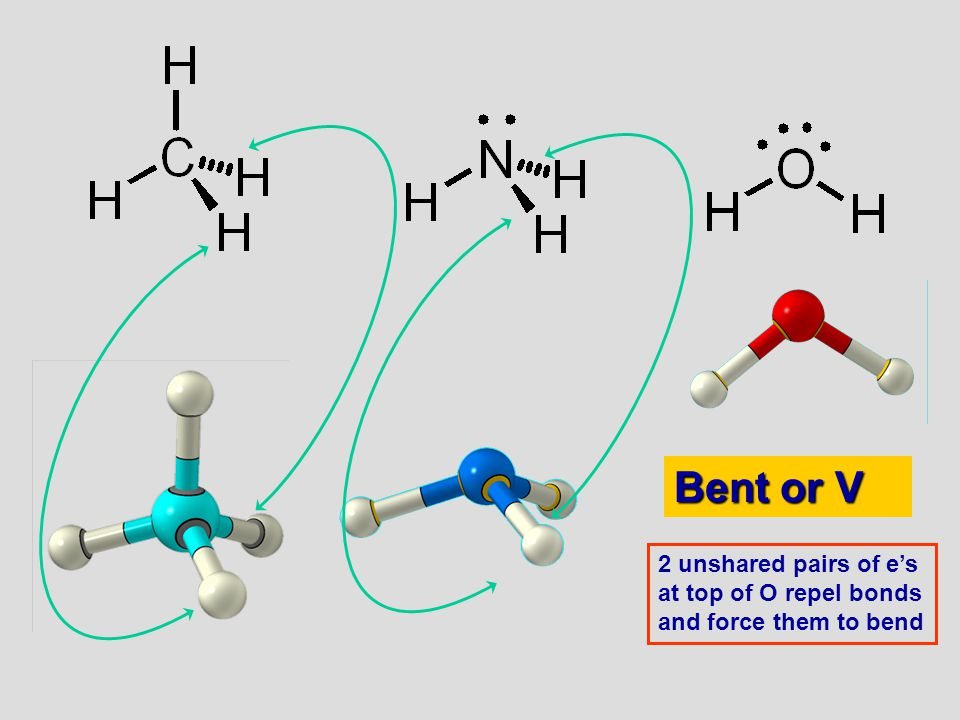 06/10/99 Bent or V 2 unshared pairs of e's at top of O repel bonds and force them to bend