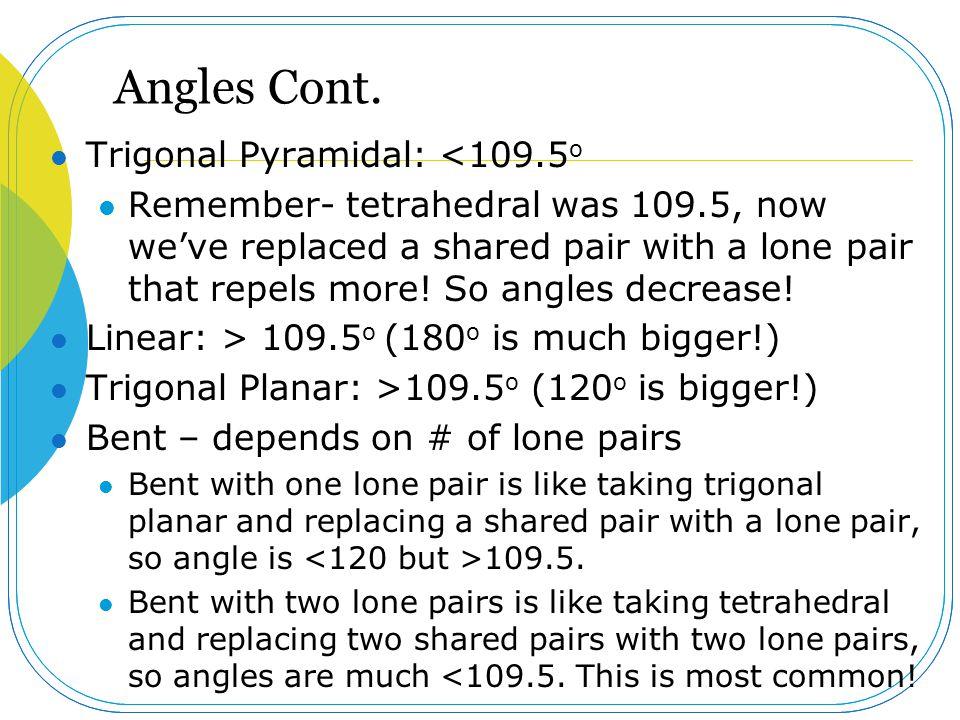 Angles Cont. Trigonal Pyramidal: <109.5o