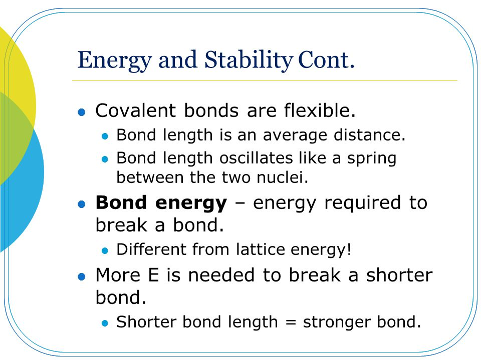 Energy and Stability Cont.