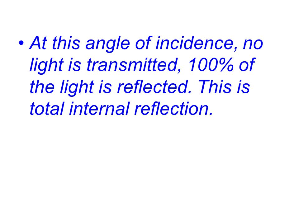 At this angle of incidence, no light is transmitted, 100% of the light is reflected.