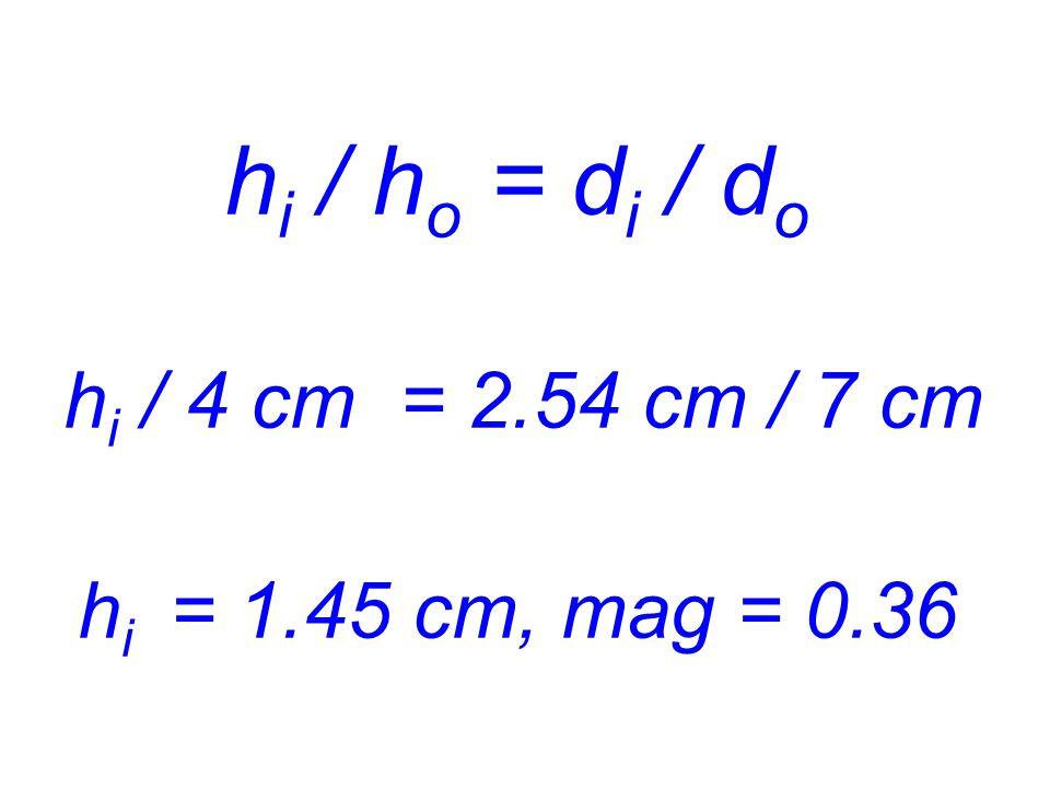 hi / ho = di / do hi / 4 cm = 2.54 cm / 7 cm hi = 1.45 cm, mag = 0.36