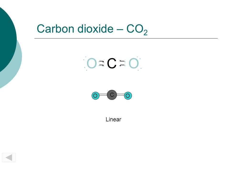 Carbon dioxide – CO2 O C O O C Linear