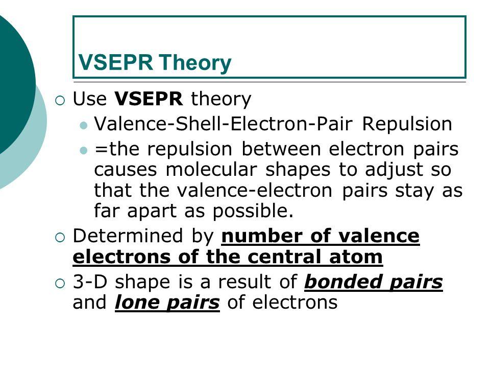 VSEPR Theory Use VSEPR theory Valence-Shell-Electron-Pair Repulsion