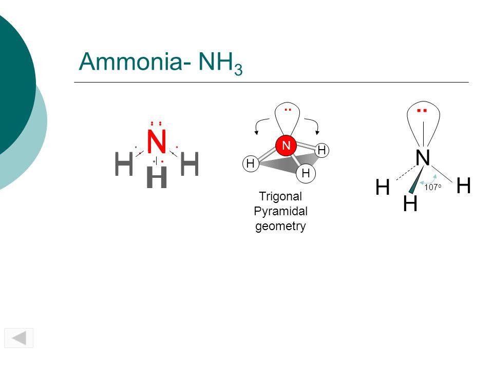 N H N H H H Ammonia- NH3 .. N H .. N H Trigonal Pyramidal geometry