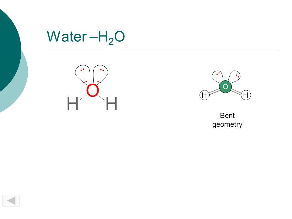 Water –H2O .. .. .. .. SO2 .. O H O H H Bent geometry