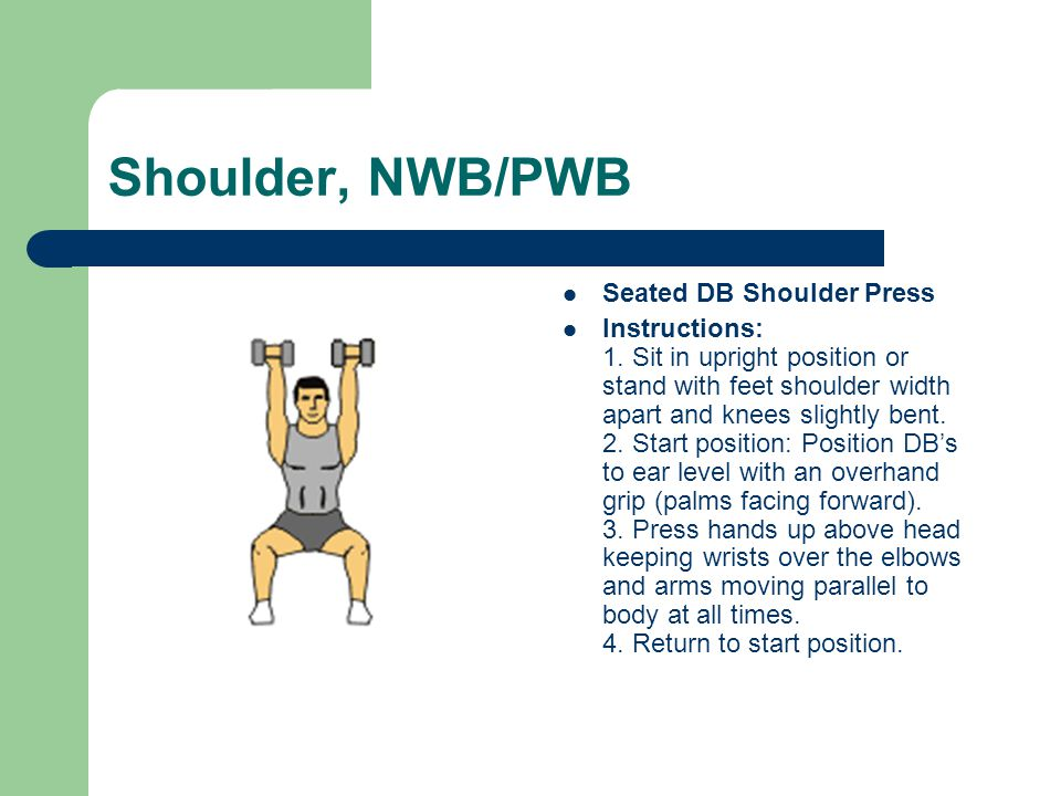 Shoulder, NWB/PWB Seated DB Shoulder Press