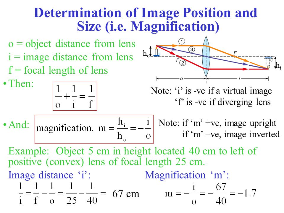 Determination of Image Position and Size (i.e. Magnification)