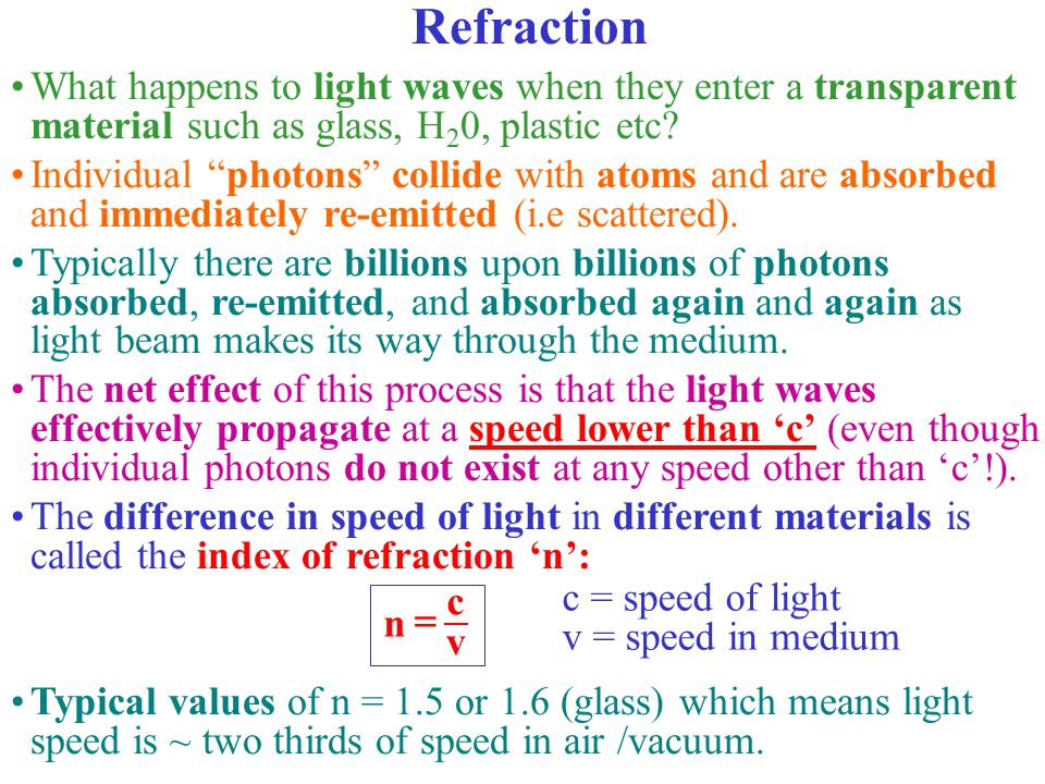 Refraction What happens to light waves when they enter a transparent material such as glass, H20, plastic etc